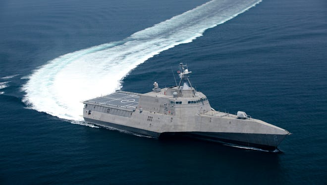 The littoral combat ship Independence underway during builder's trials. Builder's trials are the first opportunity for the shipbuilder and the U.S. Navy to operate the ship underway, and provide an opportunity to test and correct issues before acceptance trials.