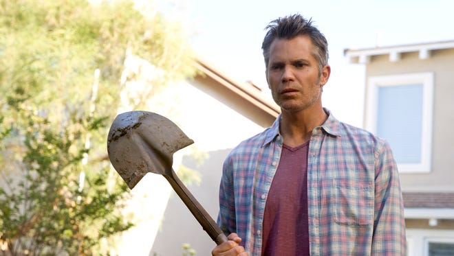 Joel Hammond (Timothy Olyphant) finds another use for a garden shovel in Netflix's 'Santa Clarita Diet.'