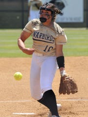 Abilene High pitcher Kaylen Washington (10) lets the