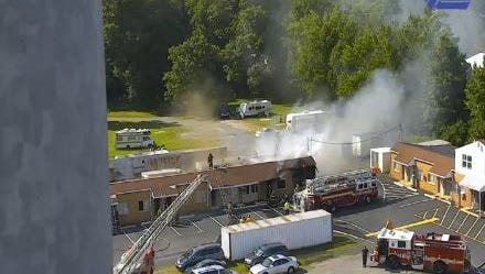 The fire broke out sometime after 4 p.m. Wednesday at the U.S. 13 and Del. 40 split near New Castle.
