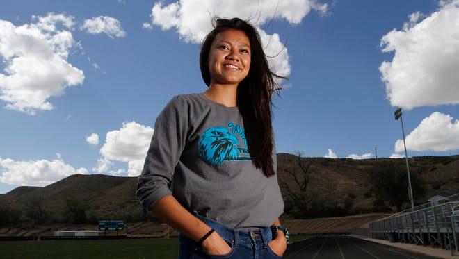 Navajo Prep's Sarah Chacon poses for a portrait on Monday at Navajo Preparatory School in Farmington.
