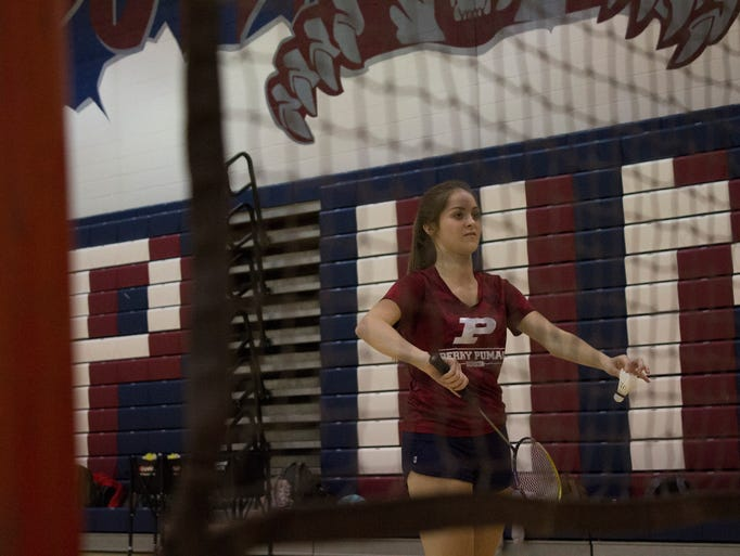 Gilbert Perry High School badminton player Megan Crow