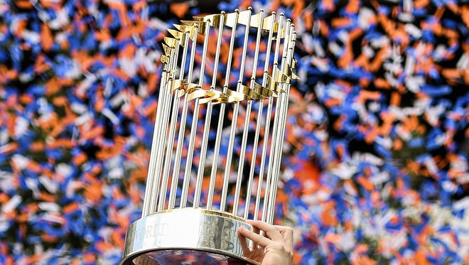 Nov 3, 2017; Houston, TX, USA; View of the trophy held by Houston Astros third baseman Alex Bregman (2, not pictured) during the World Series championship parade and rally for the Houston Astros in downtown Houston. Mandatory Credit: Shanna Lockwood-USA TODAY Sports