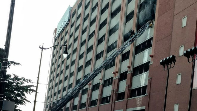 A fire broke out on the sixth floor of the Greektown Hotel parking garage on Sunday, July 29, 2018.