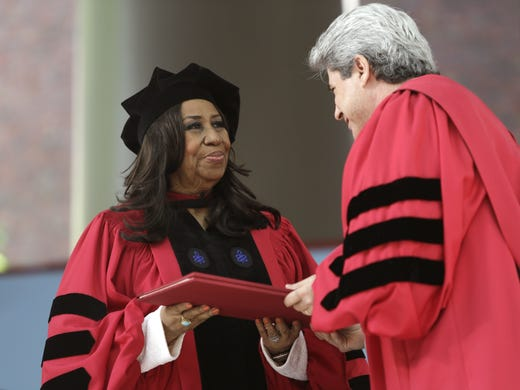 Aretha Franklin is presented with an honorary Doctor
