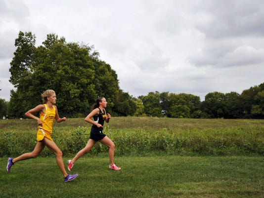 Eastern York's Maddie McLain, left, and Delone Catholic's Kate Mowrey battle for the lead in a regular-season race last September. McLain won, with Mowrey taking second place.