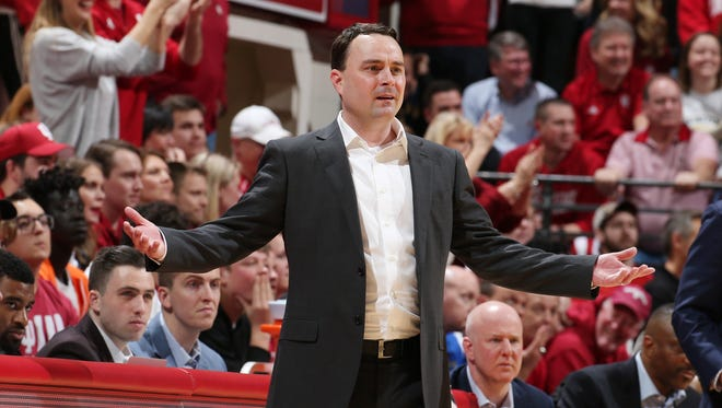 Hoosiers coach Archie Miller coaches on the sidelines against the Purdue Boilermakers during the second half at Assembly Hall.