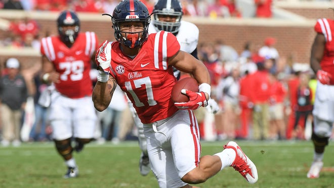 Tight end Evan Engram (17) will most likely be the first Ole Miss player selected in the NFL draft  this weekend.