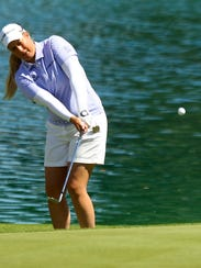 ANA Inspiration 2015 champion Brittany Lincicome holes out a pitch near the sixth green while playing in the tournament pro-am Wednesday, March 30, 2016, at Mission Hills Country Club in Rancho Mirage, Calif.