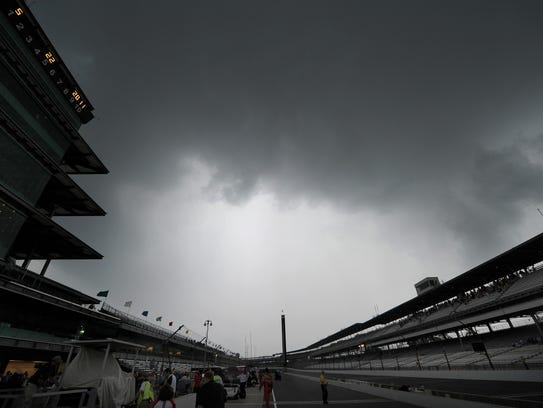 Storm clouds roll over the Indianapolis Motor Speedway,