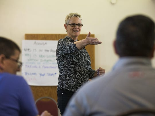 "One Community Faith Director Debra Peevey leads a workshop on ""Understanding Diversity and Non-Discrimination"" at First United Methodist Church in Mesa May 26, 2015. The group supports a highly contentious Mesa anti-discrimination ordinance that keeps being delayed."
