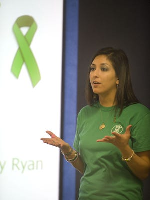 Angela Donato speaks to students at Washington Township High School in 2012 about the dangers of distracted driving.
