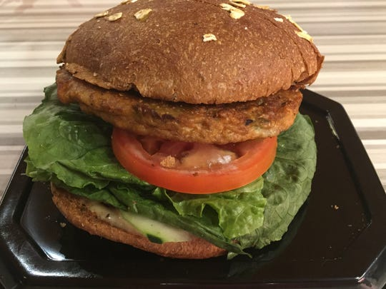 A veggie burger at the new Habit Burger in Circus Circus Reno can be made with a toasted French roll, grilled sourdough, seeded bun or wheat bun.