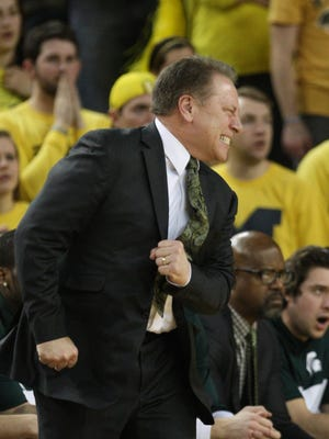 Michigan State basketball coach Tom Izzo reacts to a call Feb. 23, 2014, at the Crisler Center in Ann Arbor.