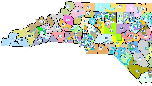 This map shows the current district lines for the N.C. House.