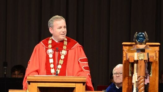 Samuel 'Dub' Oliver speaking to the Union community and guests after being inaugurated as the 16th president of Union University.