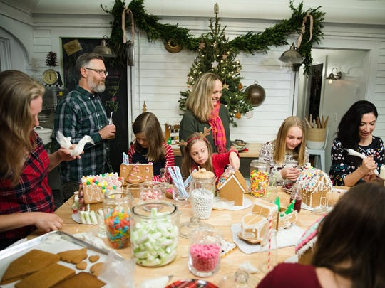 """Host Gesine Bullock-Prado (right) with friends at a gingerbread party, as seen on """"Baked in Vermont."""""""