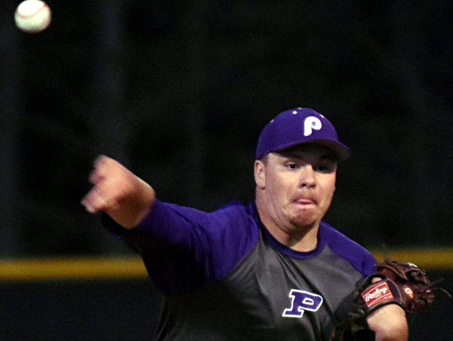 Portland High senior Nick Lingo delivers a first-inning pitch.