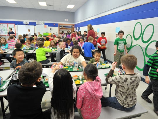 Students have lunch Wednesday afternoon, March 25, 2015, at Thomas Jefferson Elementary School in Wausau. The crowded cafeteria is only one of the issues the school has as it contends with a space shortage. If voters approve a Wausau School District building plan in an April 7 referendum, and additional four classrooms, a 4-K educational area and new cafeteria will be added to the school.