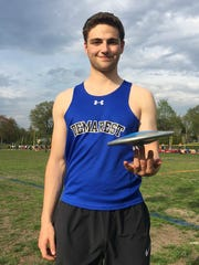 Demarest boys track's Matt Lange, winning of the Big North National discus event at Ridgewood on Friday, May 4, 2018.