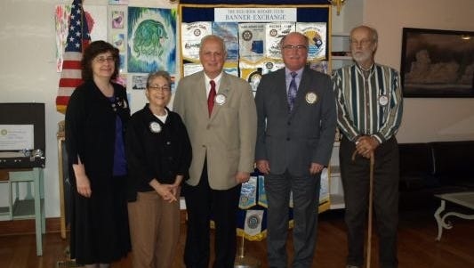 From left, Rotary members Chris Chale, Susan Simon, Judge Jonah Triebwasser, Carl Dowden and Bud Weaver.