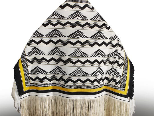 Ravenstail weaver John Beard completed this Klamath River robe in 2014. The robe incorporates designs from the Native American twined basketry of the Hupa, Karuk and Yurok peoples of the Lower Klamath River in Northern California.