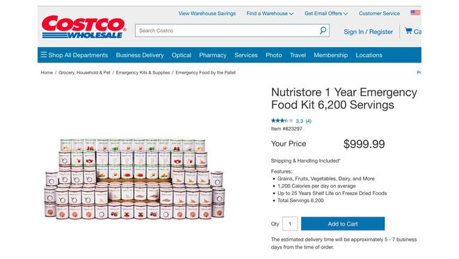 Screenshot from Costco.com of Nutristore 1 Year Emergency Food Kit with 6,200 Servings for $999.