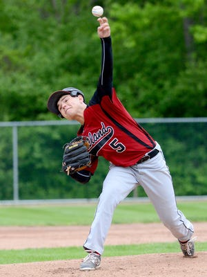 Portland's Trevor Trierweiler pitches during the Raiders' 3-2 loss to Mason in the Diamond Classic Wednesday, May 20, 2015.