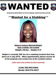 Nakera Mitchell-Wright is believed to be the perpetrator in the stabbing of two people in Wilmington. She has been charged with two counts of first-degree assault and weapon-related offenses.