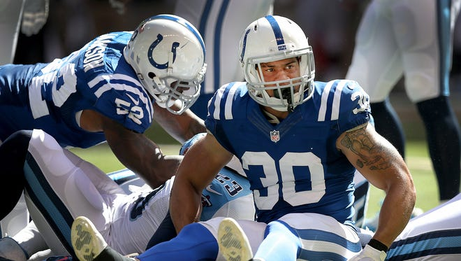 Former Colt LaRon Landry, shown here vs. Tennesse in September, has been suspended 10 games for violating the NFL's performance-enhancing drug policy.