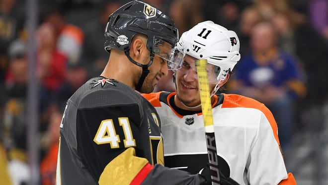 Ex-Flyer Pierre-Edouard Bellemare, left, returns to Philadelphia with the expansion Vegas Golden Knights.