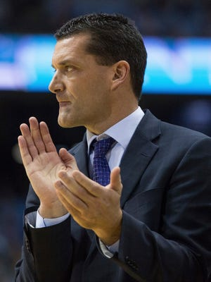 Northern Iowa head coach Ben Jacobson reacts to a play during the first half of an NCAA college basketball game against North Carolina in Chapel Hill, N.C., Wednesday, Dec. 21, 2016. (AP Photo/Ben McKeown)