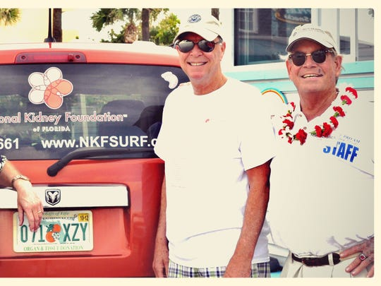 Bill Hahn, left, U.S. Rep Bill Posey, center and the late Rich Salick at the first Footprints in the Sand Kidney Walk in 2012. Salick passed away a short time after the walk.