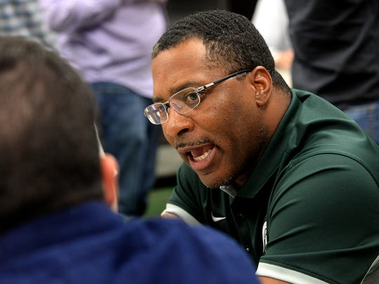 Terrence Samuel, wide receivers coach, speaks with the media Monday, August 10, 2015, during Media Day at Spartan Stadium.