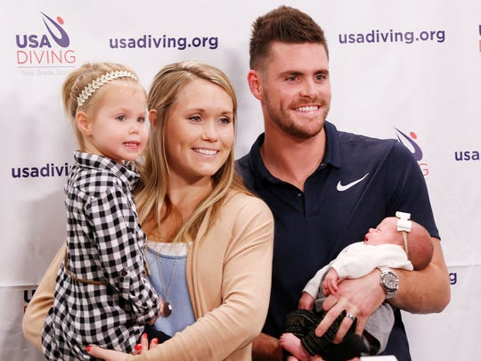Olympic gold medalist diver and former Purdue standout David Boudia with his wife Sonnie and their children Koda, 3, and Mila, three weeks, prior to a press conference Tuesday, September 12, 2017, on the campus of Purdue University. Boudia announced that he will continue training with the goal of the Tokyo Olympics in 2020.
