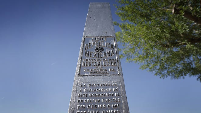 A marker at the Chamizal National Memorial shows where the old border between the United States and Mexico once stood. After the Rio Grande changed its course, officials on both sides came to an agreement to move the border and the Chamizal Treaty was signed.
