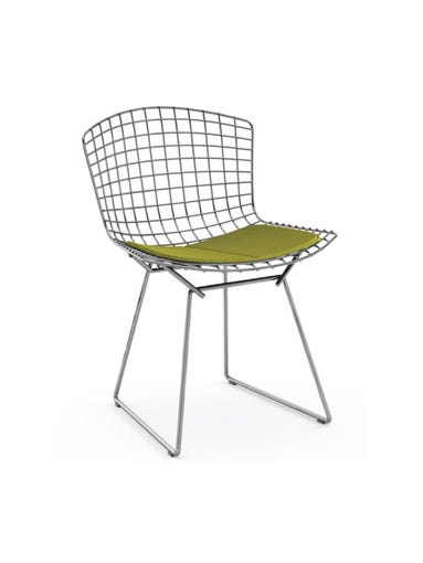 1. Bertoia side chair with green fabric cushion  These