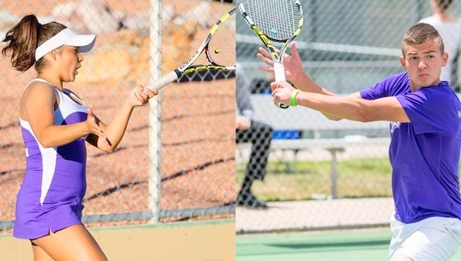 Western's Annely Heinze, left, won in straight sets against MSU Denver, while Vladimir Gnilozubov claimed his singles win in three sets at No. 3 against the Roadrunners.
