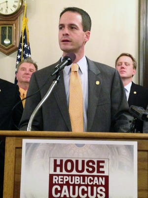 Rep. Kevin Cotter, R-Mount Pleasant, was chosen to be the next House speaker on Thursday, Nov. 6, 2014, at the Michigan Capitol in Lansing, Mich. Cotter, who spoke at a news conference after his selection, will serve in a House where Republicans will have a 63-47 majority.