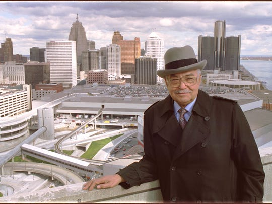 Detroit Mayor Coleman Young poses for a photo atop the Riverfront Apartments overlooking downtown Detroit in this November 1989 photo.