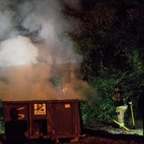 Dumpster fire spreads smoke over Ashland City Wednesday Evening