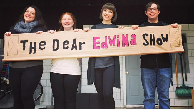 """(From left) Marissa Parrott, Lena Dougherty, Caitlin Geisser and Tyler Daddario of Triple Threat Workshop for Kids are pictured. The group will present """"Dear Edwina Jr."""" this week at Our Lady of Mercy Academy in Newfield,"""