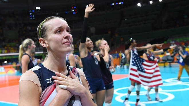 USA libero Kayla Banwarth (2) celebrates Saturday, Aug. 20, 2016, after the women's volleyball bronze medal match against Netherlands in the Rio 2016 Summer Olympic Games at Maracanazinho in Rio de Janeiro.