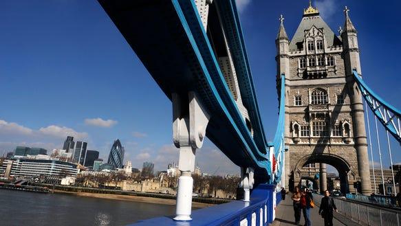 The Tower Bridge in London.