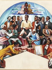 """One painting reproduction coming to Plymouth is Hale Woodruff's """"The Art of the Negro,"""" 1950-1951, oil on canvas. Detroit Institute of Arts (2004.14)"""