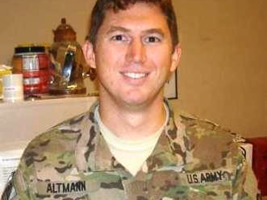 A photo of Joseph Altmann who was killed in Afghanistan on Christmas Day in 2011. The Salute a Soldier 5K was started in his honor.