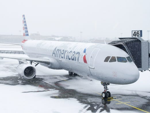 American's first Airbus A321 Transcontinental aircraft made a snowy debut in New York on Dec. 17, 2013.