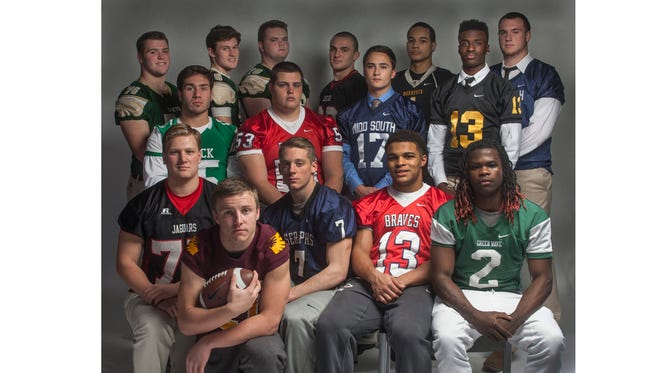 The All-Shore Football Offense of (front row) Tyler Rauch, Mike Bickford, Christian Palmer, Imamu Mayfield and Dahmiere Willis; (middle row) Carmen Sclafani, Joe Sellmeyer, Matt Mosquera and Anthony Brown; (back row) Ryan Kroeger, Eddie Hahn, Liam Smith, Brody Graham, Isaiah Searight and James Wilson.