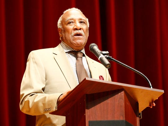 Mount Vernon Mayor Ernie Davis is pictured in this file photo speaking at Mount Vernon High School's graduation ceremony at the Westchester County Center in White Plains in June 2014.