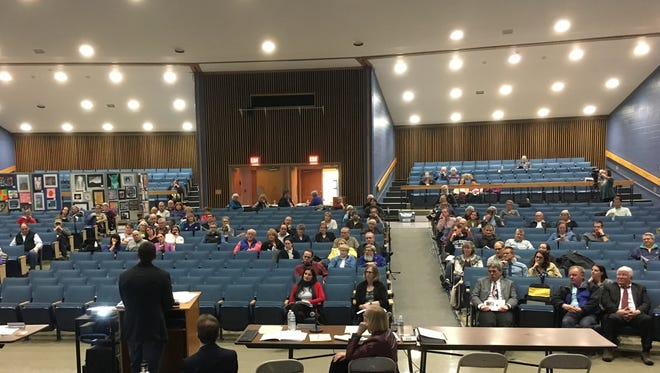 2017: Essex Junction residents gather at the Essex High School the village's annual meeting on April 5, 2017.